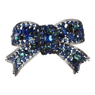 Lawrence Vrba 4.5 Inch Blue Rhinestone Bow Brooch Pin For Sale