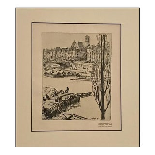 1890s Vintage Saint-Gervais Cityscape (Matted) by Eugene Bejot For Sale