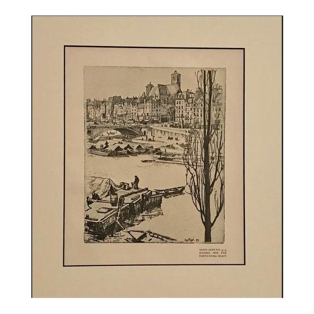 1890s Vintage Saint-Gervais Cityscape (Matted) by Eugene Bejot For Sale