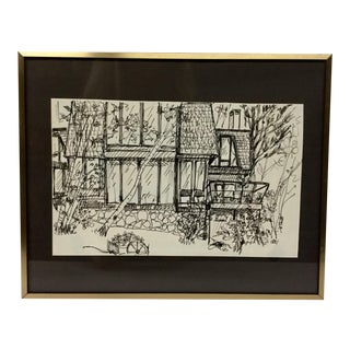 1980's Black Marker Sketch by H Taub For Sale