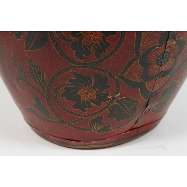Kashmiri Indo-Raj Red Hand-Painted Metal Jar Vessel For Sale - Image 4 of 8
