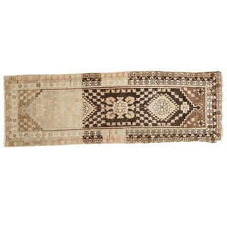 "Vintage Distressed Oushak Rug Runner- 3'5"" X 10'1"""