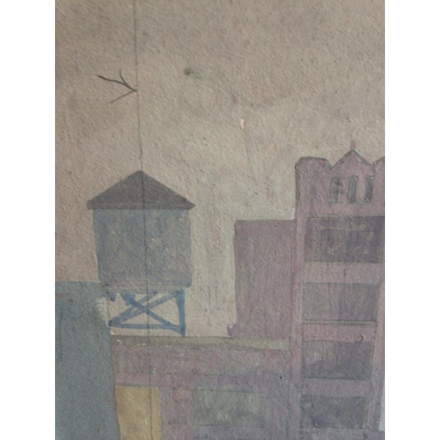 Art Deco Original Mid-Century Rooftops Painting For Sale - Image 3 of 8