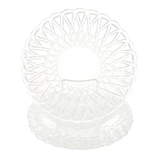 Basket Weave Glass Trays - Set of 5 For Sale