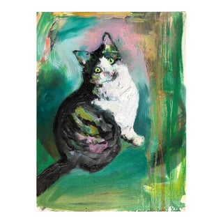 """Meow in Green"" Oil Painting on Board For Sale"
