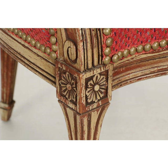 Red Vintage French Louis XVI Style Gray Painted Fauteuil Arm Chairs - a Pair For Sale - Image 8 of 10