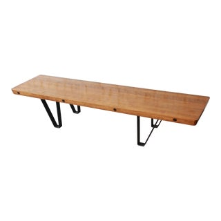 Mid-Century Modern Long Bench or Coffee Table With Bowling Lane Top For Sale