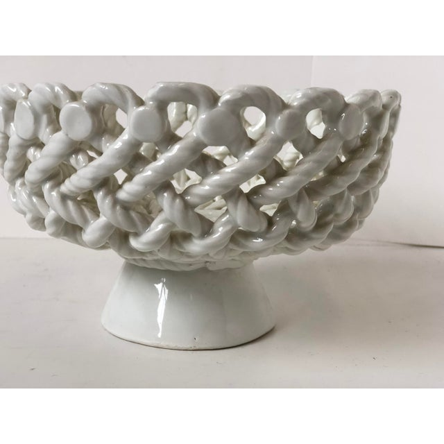 Italian Woven Rope White Ceramic Compote For Sale - Image 10 of 12