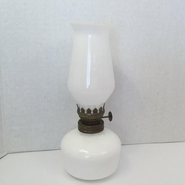 Milk Glass Oil Lamp For Sale - Image 5 of 11