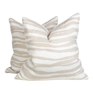 Cream and Ivory Linen Zebra Wave Pillows - a Pair For Sale