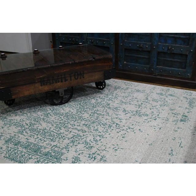 "Teal Distressed Rug - 5'3''x 7'7"" - Image 4 of 6"