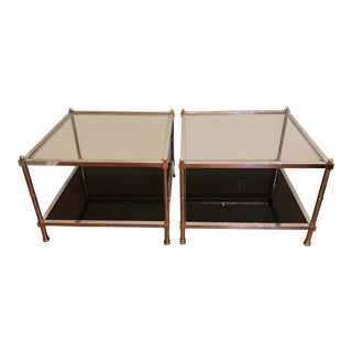 Mid-Century Chrome Brass Square End Tables - A Pair For Sale
