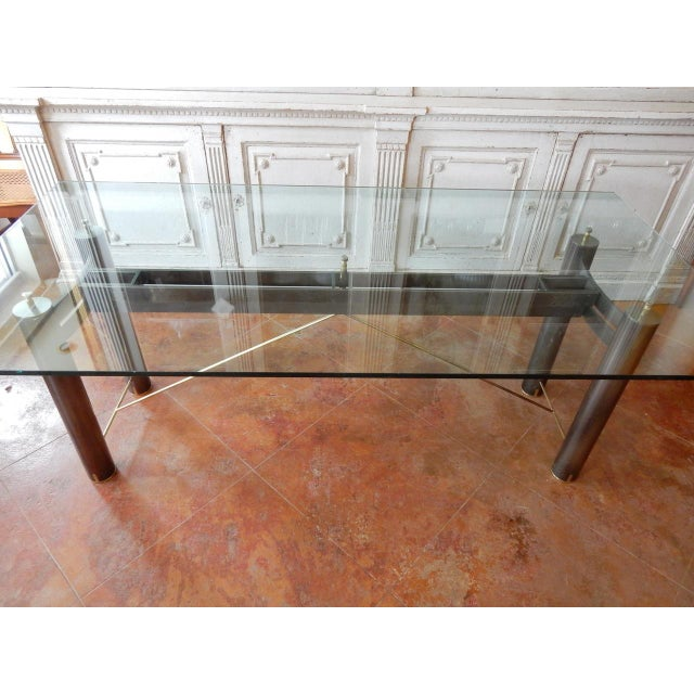 Metal Mid-Century Modern Glass and Metal Dining Table For Sale - Image 7 of 8