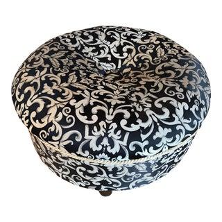 Black & White Acanthus Ottoman