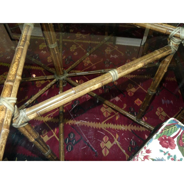 McGuire Bamoo and Laced Rawhide Octagonal Dining Table For Sale - Image 12 of 13