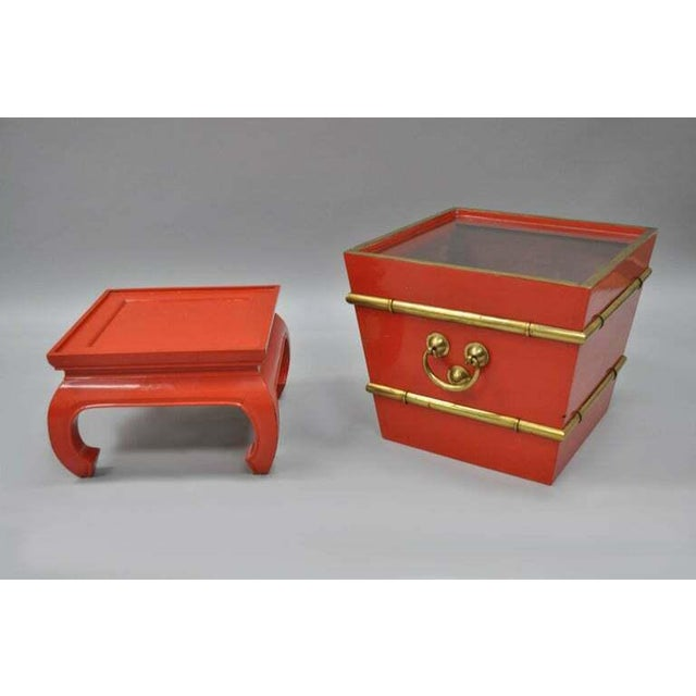 Chinoiserie Chinoiserie Red Lacquer Oriental Pedestal Planter For Sale - Image 3 of 11