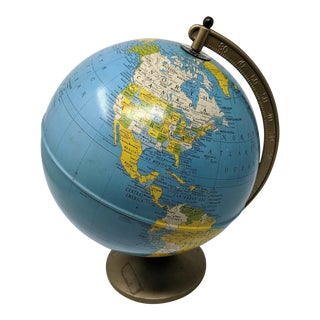 Continental World Globe on Metal Stand For Sale