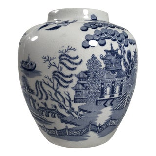 Late 19th Century Antique Blue and White Transferware Staffordshire Willow Ginger Jar/Vase For Sale