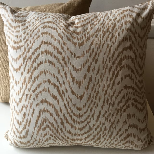 Gorgeous custom pillow (1). Double sided, one side featuring tan and off-white palette of animal print. Other side...