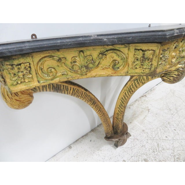 French Style Gilt Carved Faux Marbletop Hanging Shelf For Sale - Image 4 of 7