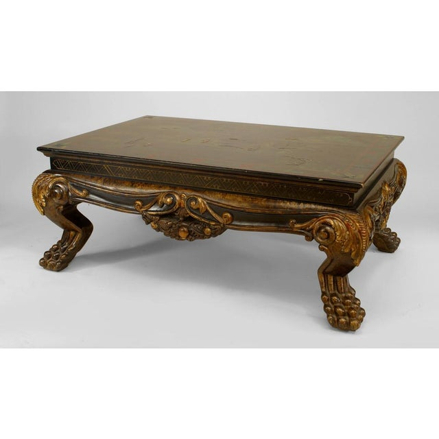 Asian Chinese Style Carved and Lacquered Coffee Table For Sale - Image 4 of 4