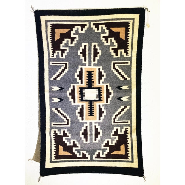 "Navajo Two Grey Hills Rug in grey, black, beige and white. Considered the ""Cadillac"" of Navajo rugs, the Two Grey Hills is..."