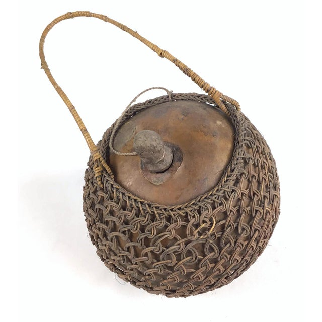 Primitive Javanese Hand Woven Covered Gourd Container For Sale - Image 11 of 11