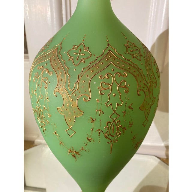French Massive Antique Baccarat French Opaline Glass Vase For Sale - Image 3 of 5