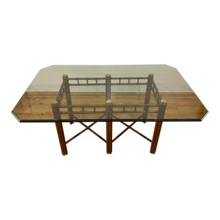 Campaign Dining Table With Glass Top For Sale