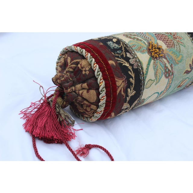 French Contemporary Multicolored Floral Tapestry Bolster With Tassles and Cords For Sale - Image 3 of 13