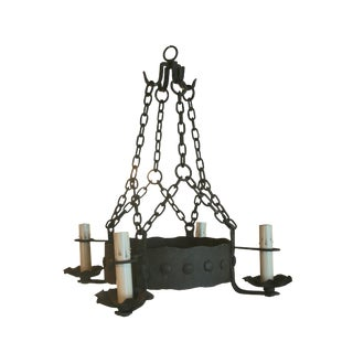 Mid-20th Century French Hand Forged Iron Chandelier
