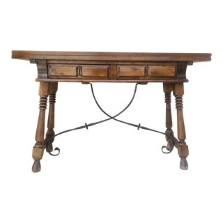 20th Century Spanish Console Fold Out Table With Iron Stretcher & Two Drawers For Sale