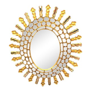 Vintage Mid Century Oval Starburst Mirror For Sale