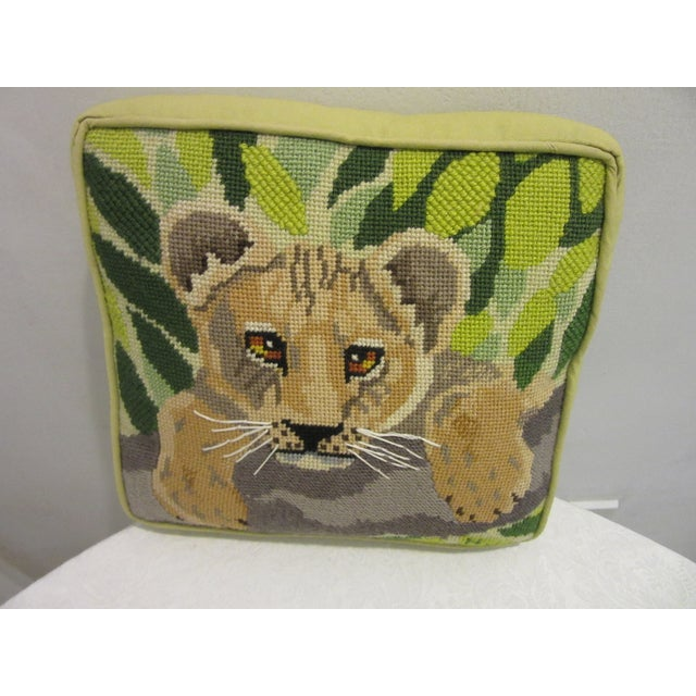 African 1970's Safari Motif Hand Stitched Needlepoint Pillows - a Pair For Sale - Image 3 of 6
