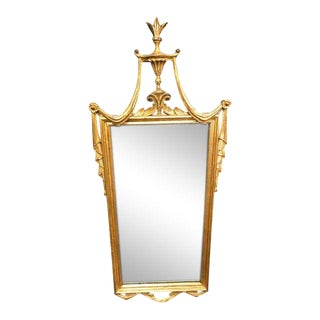 1970s Boho Chic Gilded Drape Top Mirror For Sale