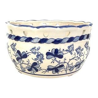 Cobalt & White Porcelain Planter For Sale