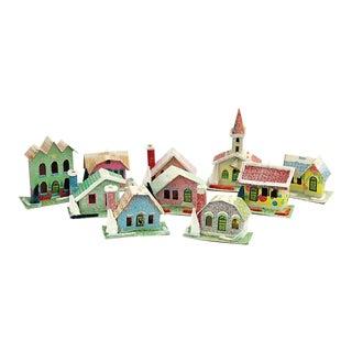 Vintage Mid-Century Christmas Village, 9 Pcs For Sale