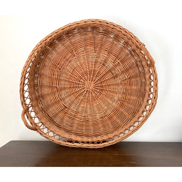 Farmhouse Large Wicker Tray Basket For Sale - Image 3 of 4