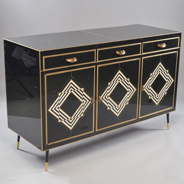 Op Art Murano Black and White Glass Clad Chest of Drawers With Brass Hardware For Sale - Image 4 of 13