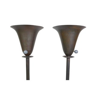Streamline Art Deco Torchieres - A Pair For Sale