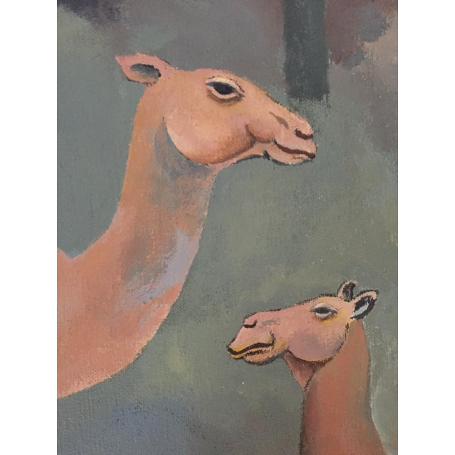 Mid-Century Camel Oil Painting - Image 5 of 7