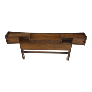 Mid-Century Modern Walnut Headboard Bed For Sale
