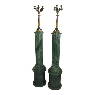 Faux Green Marble Column Candelabras - A Pair