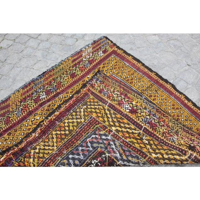 Tribal Vintage Vivid Color Cicim Kilim Rug - 3′4″ × 3′5″ For Sale - Image 4 of 13