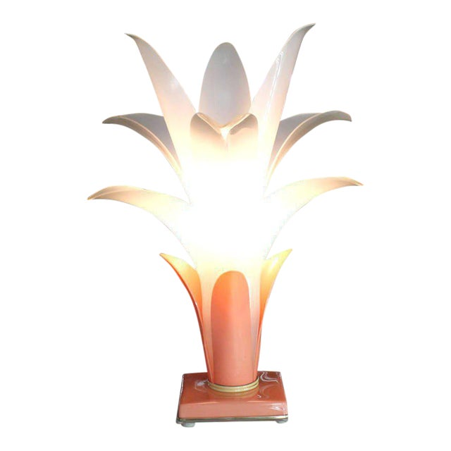 Molded Acrylic Lotus Flower Table Lamp For Sale