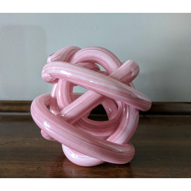 Pink Blown Glass Twisted Knot Sculpture For Sale - Image 4 of 12
