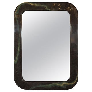 Mid-Century Modern Olive Gray Resin Wall Mirror With Amorphic Swirl Detailing For Sale