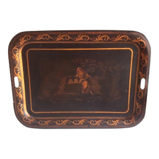 Antique Tole Tray With Original Painting