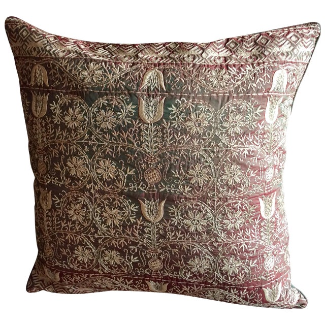 Luxury Silk Emnroidered Decorative Chikan Pillow For Sale