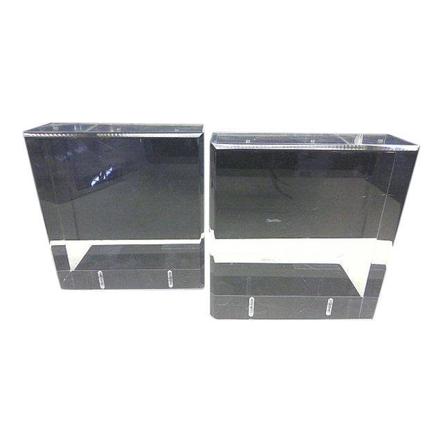 Mid Century Modern Lindahl Designs Winnetka Il Lucite Clear Square Bookends - a Pair For Sale